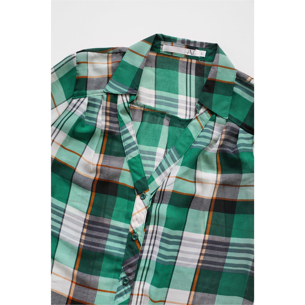 HAVE | Green Plaid Chiffon Shirt