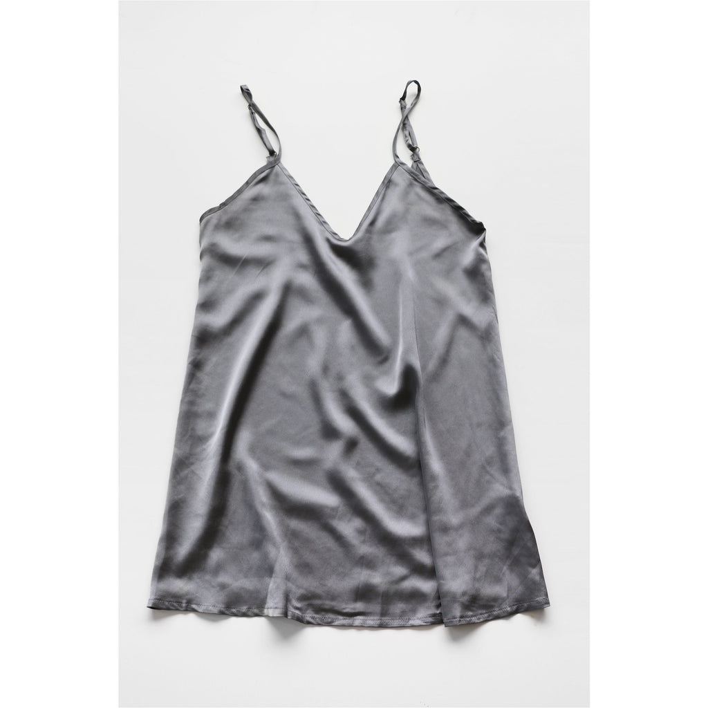 PEPPERMAYO | Grey Satin Slip Dress