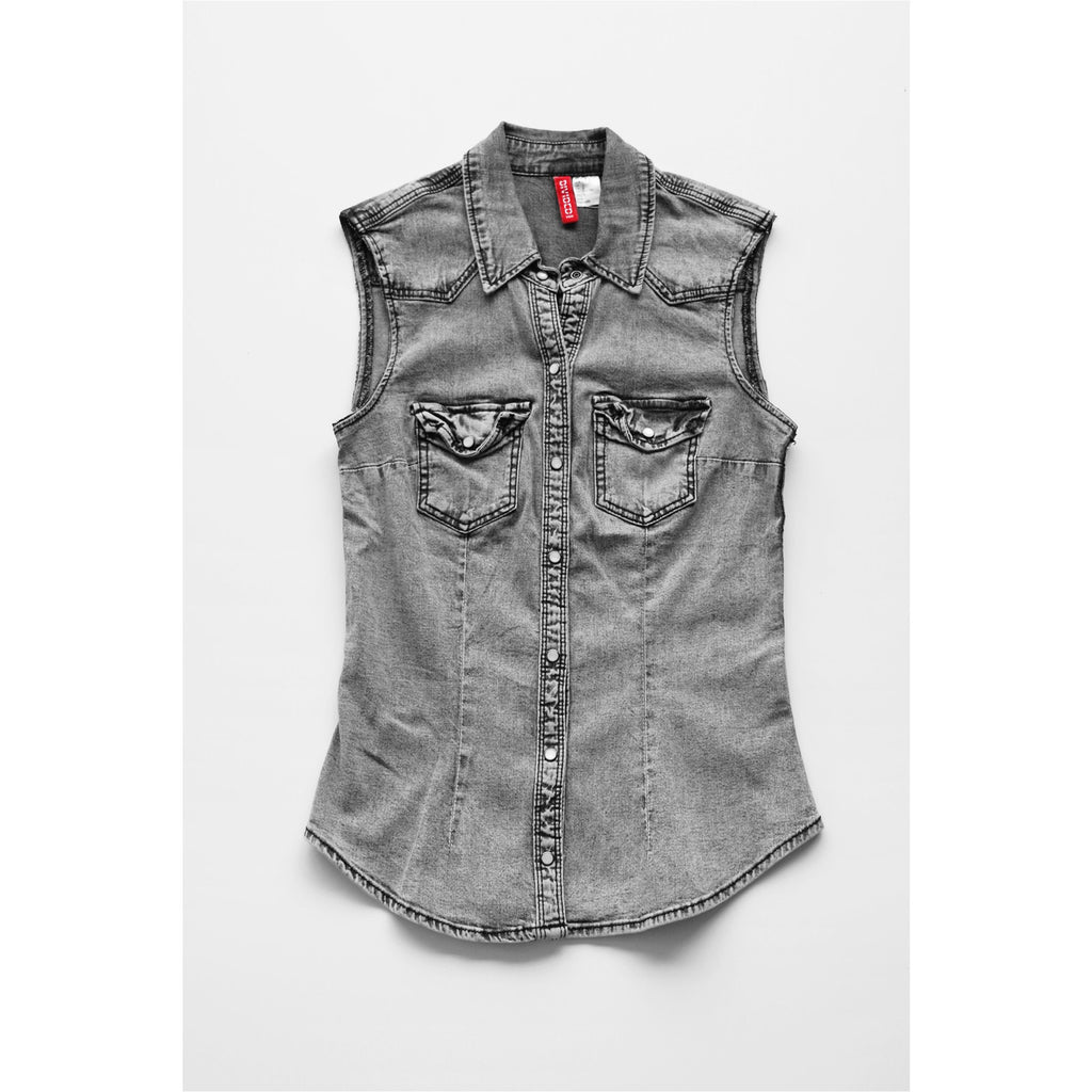 H&M |  Grey Denim Sleeveless Shirt