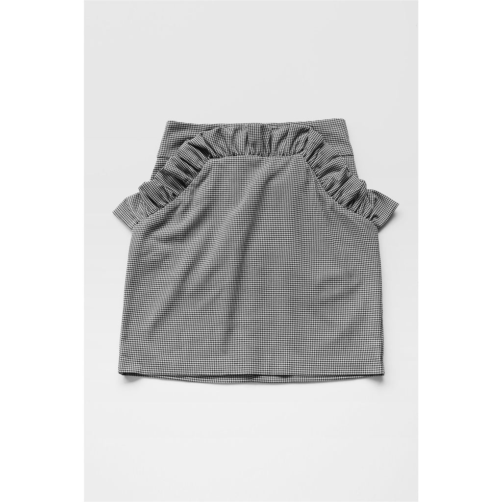 H&M |  Houndstooth Mini Skirt with Ruffle - Fresh Fashion Library