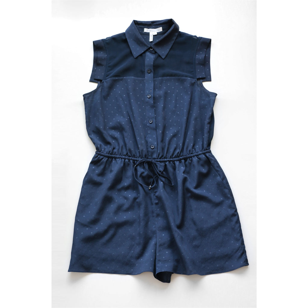 BCBG | Navy Blue Polka Dot Romper - Fresh Fashion Library