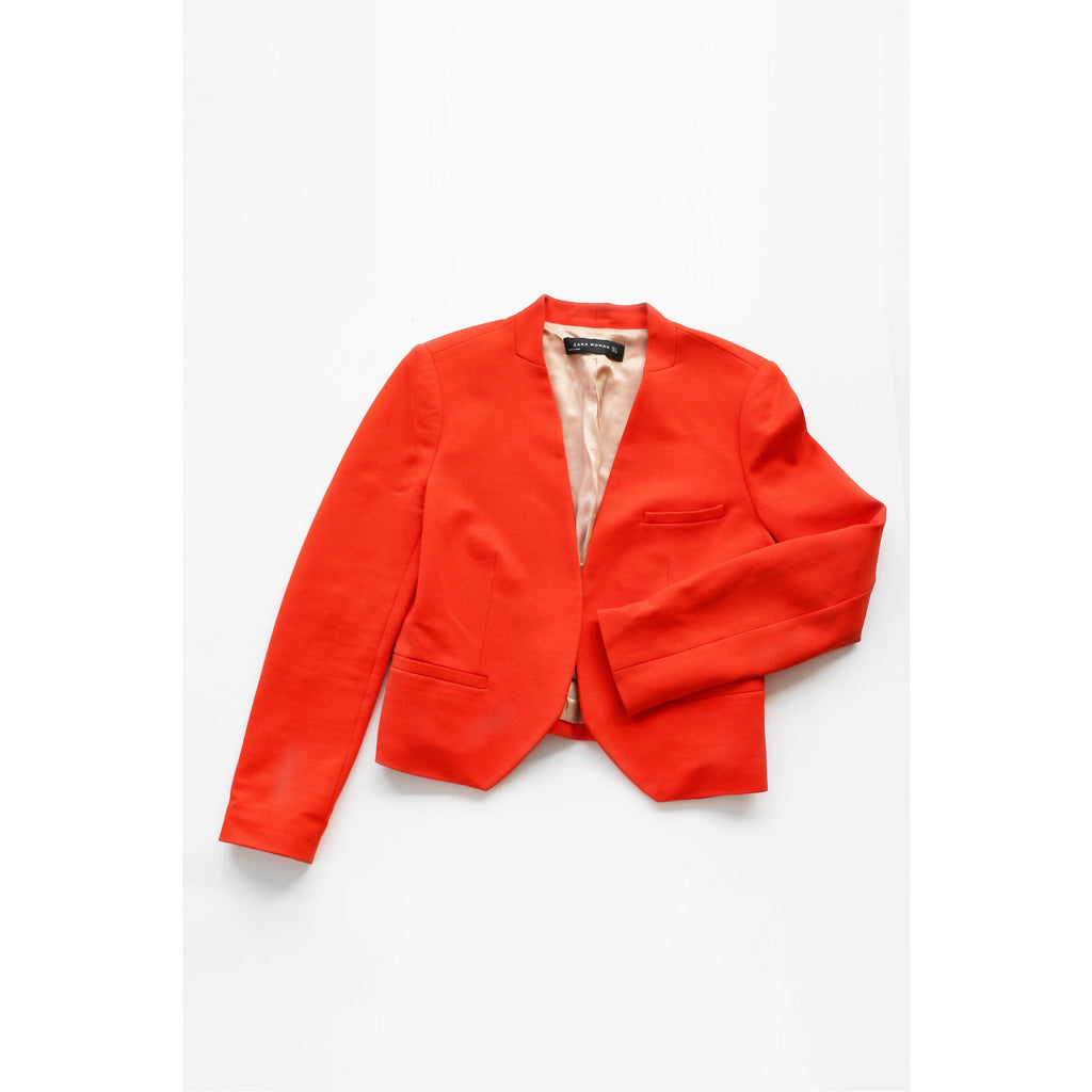 ZARA | Orange Collarless Blazer - Fresh Fashion Library