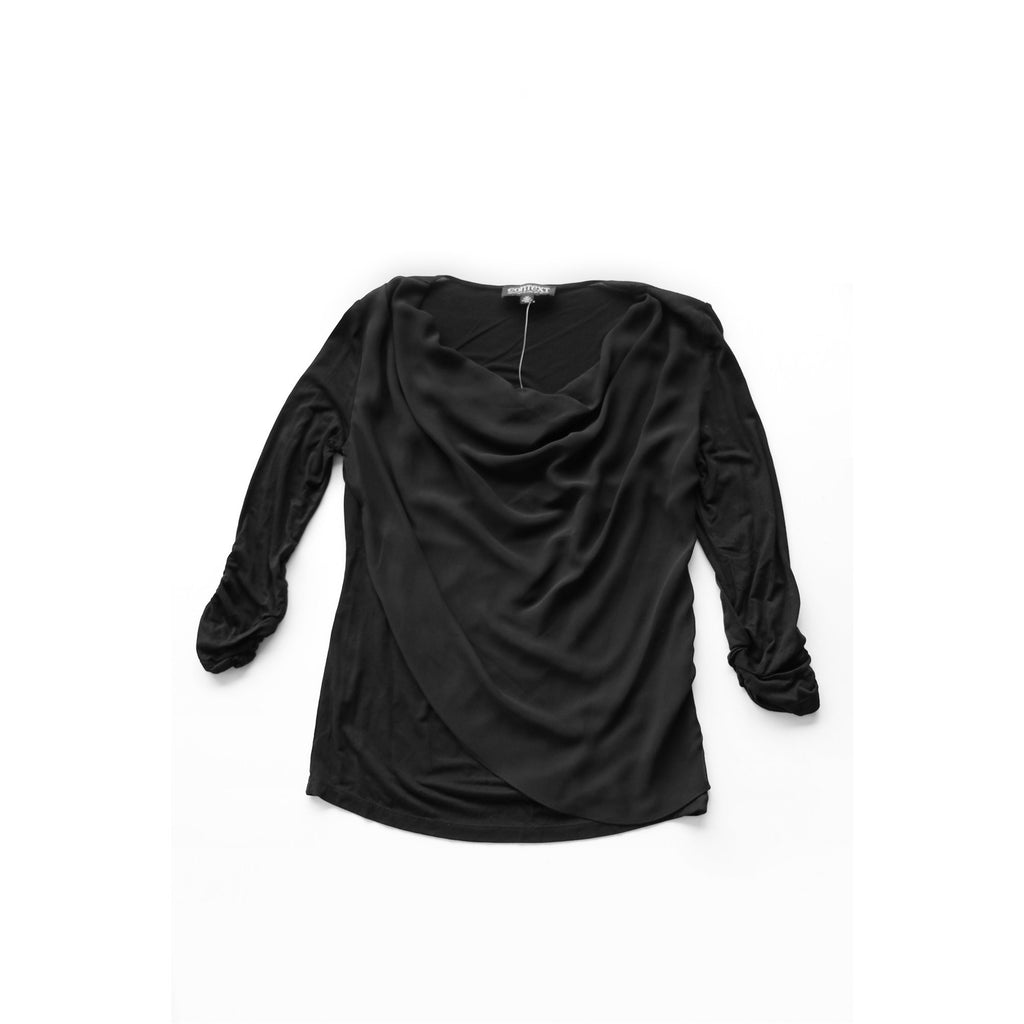CONTEXT | Black Chiffon Overlay Top