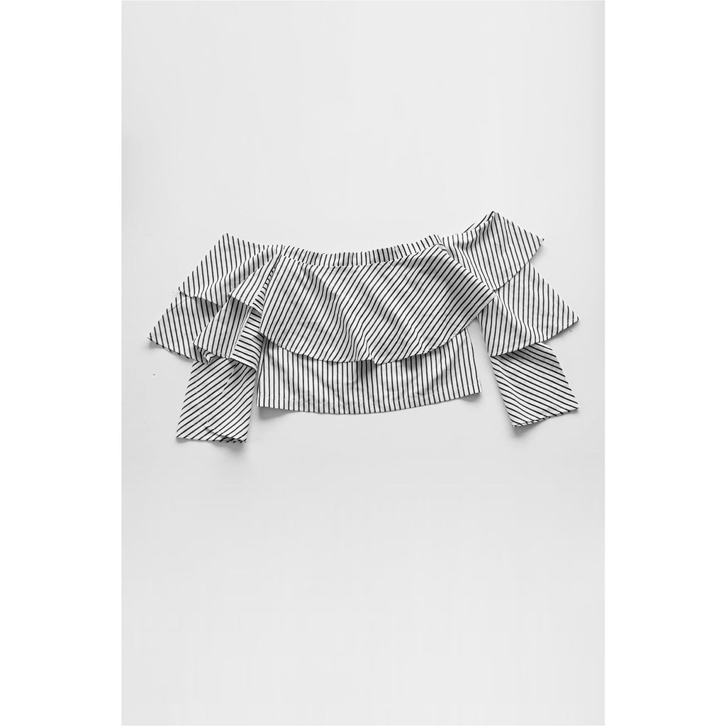 BOOHOO | Striped Off the Shoulder Top