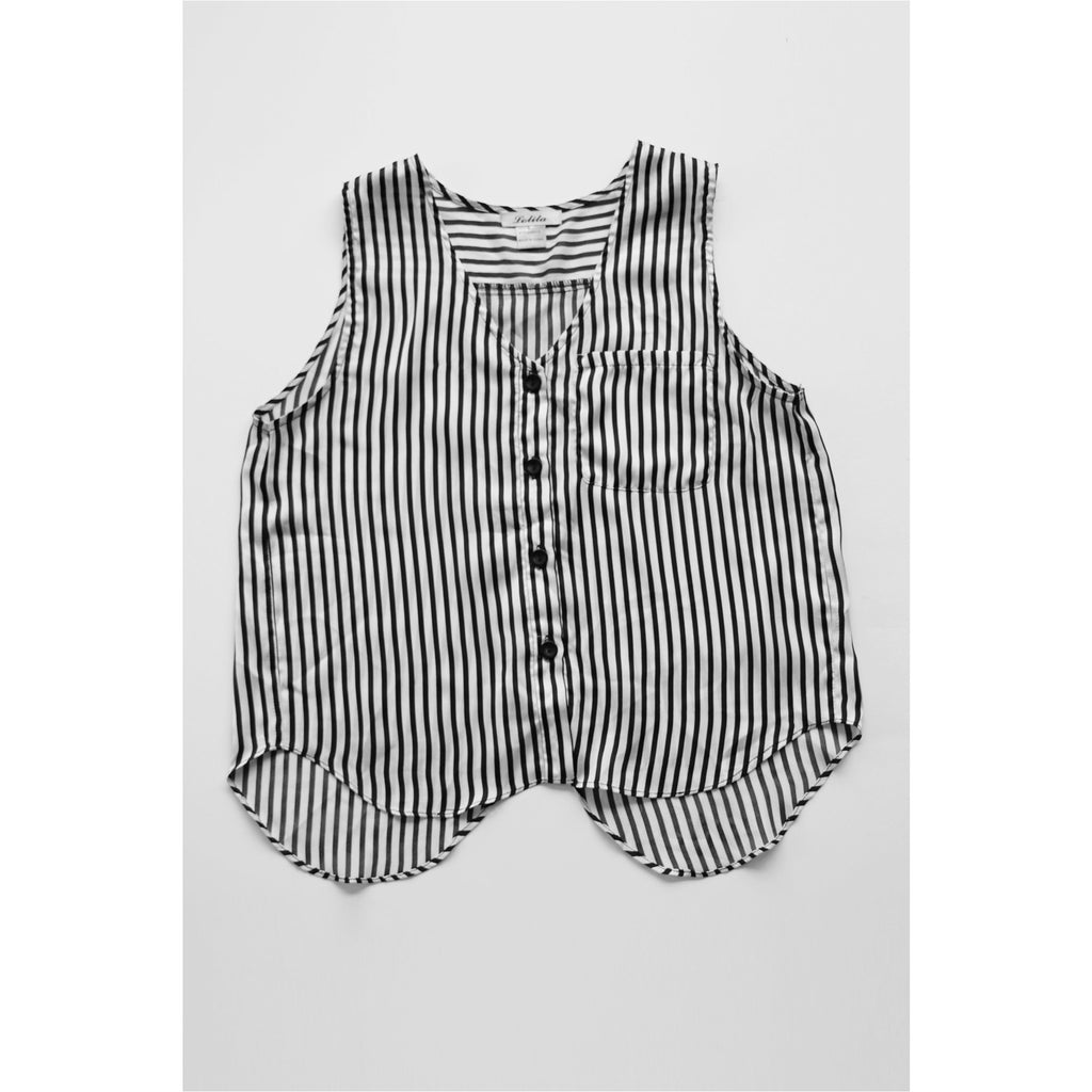 LOLITA | Striped Button Front Satin Top - Fresh Fashion Library