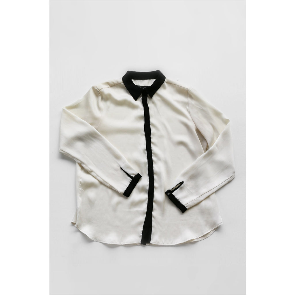 ZARA |  Off-white Contrast Collar Shirt - Fresh Fashion Library