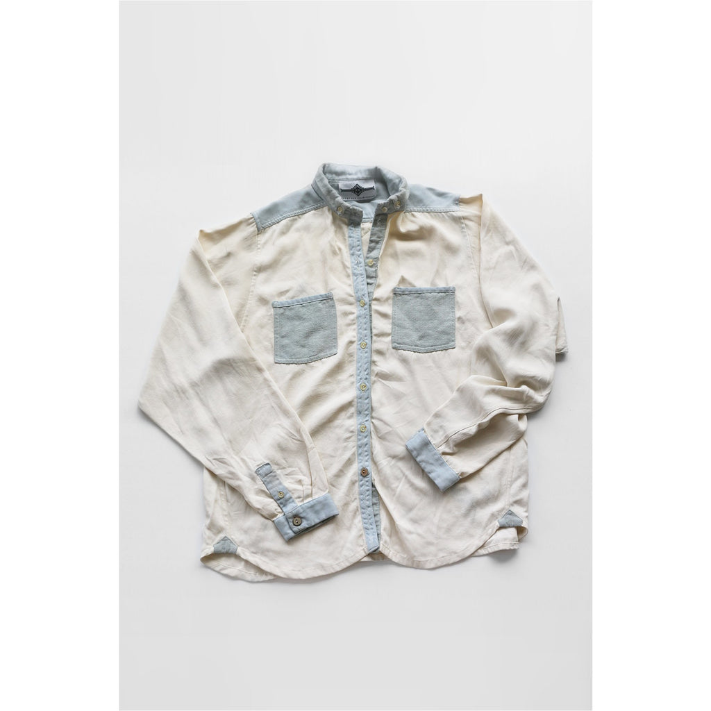 PEGGY SUE COLLECTION |  Cream and Light Blue Button Front Shirt