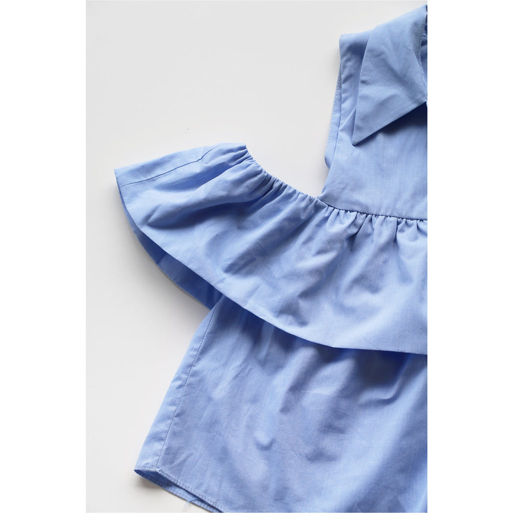 ZARA |  Blue Open-Shoulder Flounce Shirt - Fresh Fashion Library