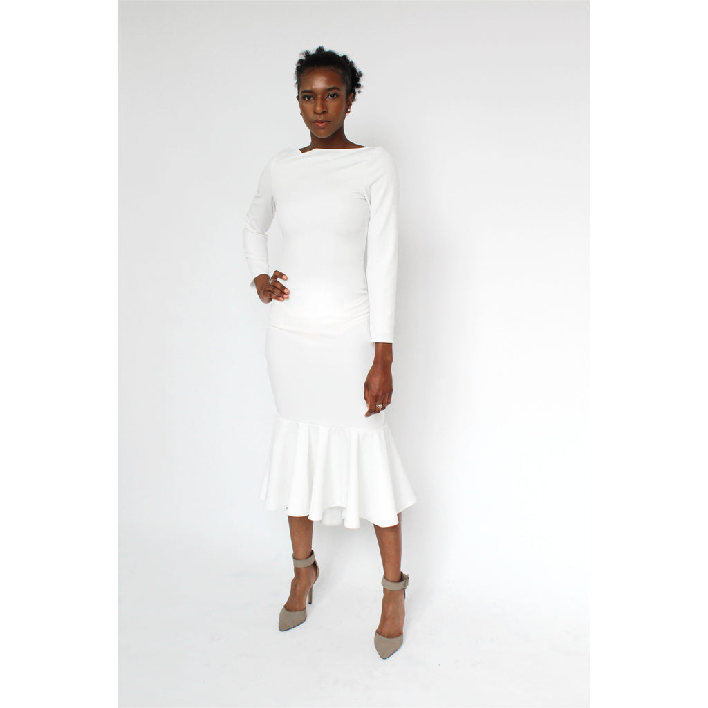 Luxe Collection | Boat-neck Trumpet Gown - Fresh Fashion Library