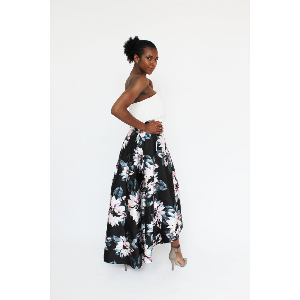 Eliza J | Floral High-Low Skirt - Fresh Fashion Library