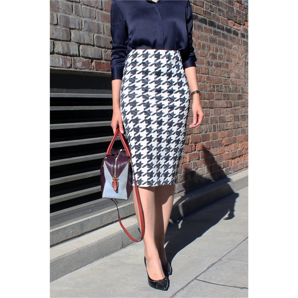 H&M | Houndstooth Neoprene Pencil Skirt - Fresh Fashion Library