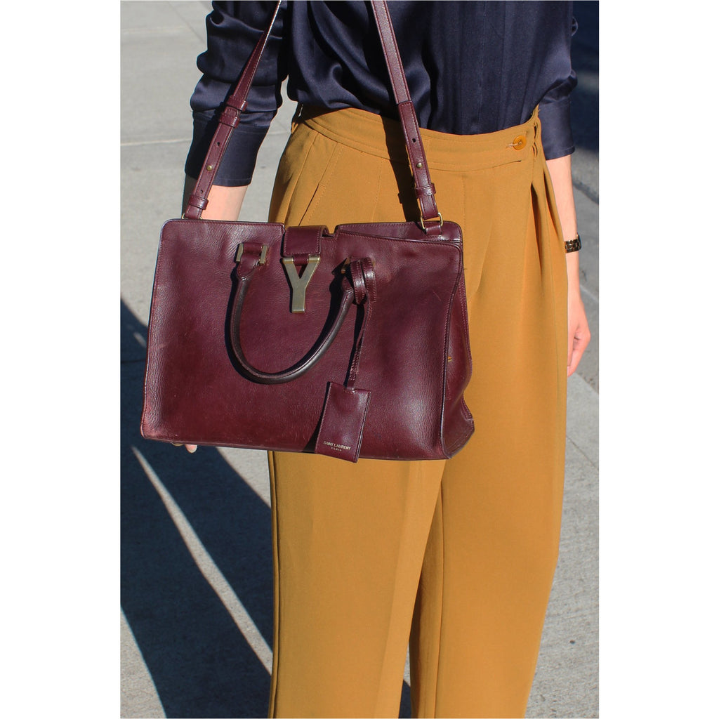 YVES SAINT LAURENT | Burgundy Classic Y Cabas Bag