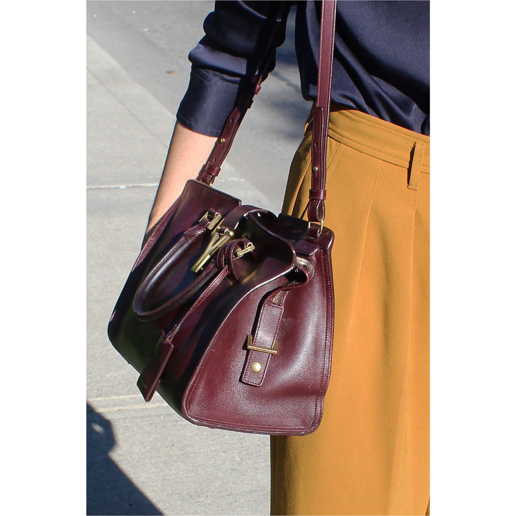 YVES SAINT LAURENT | Burgundy Classic Y Cabas Bag - Fresh Fashion Library