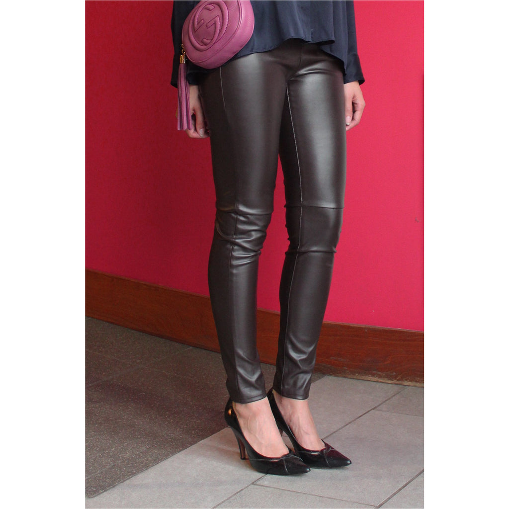 MICHAEL | Brown Faux Leather Leggings - Fresh Fashion Library