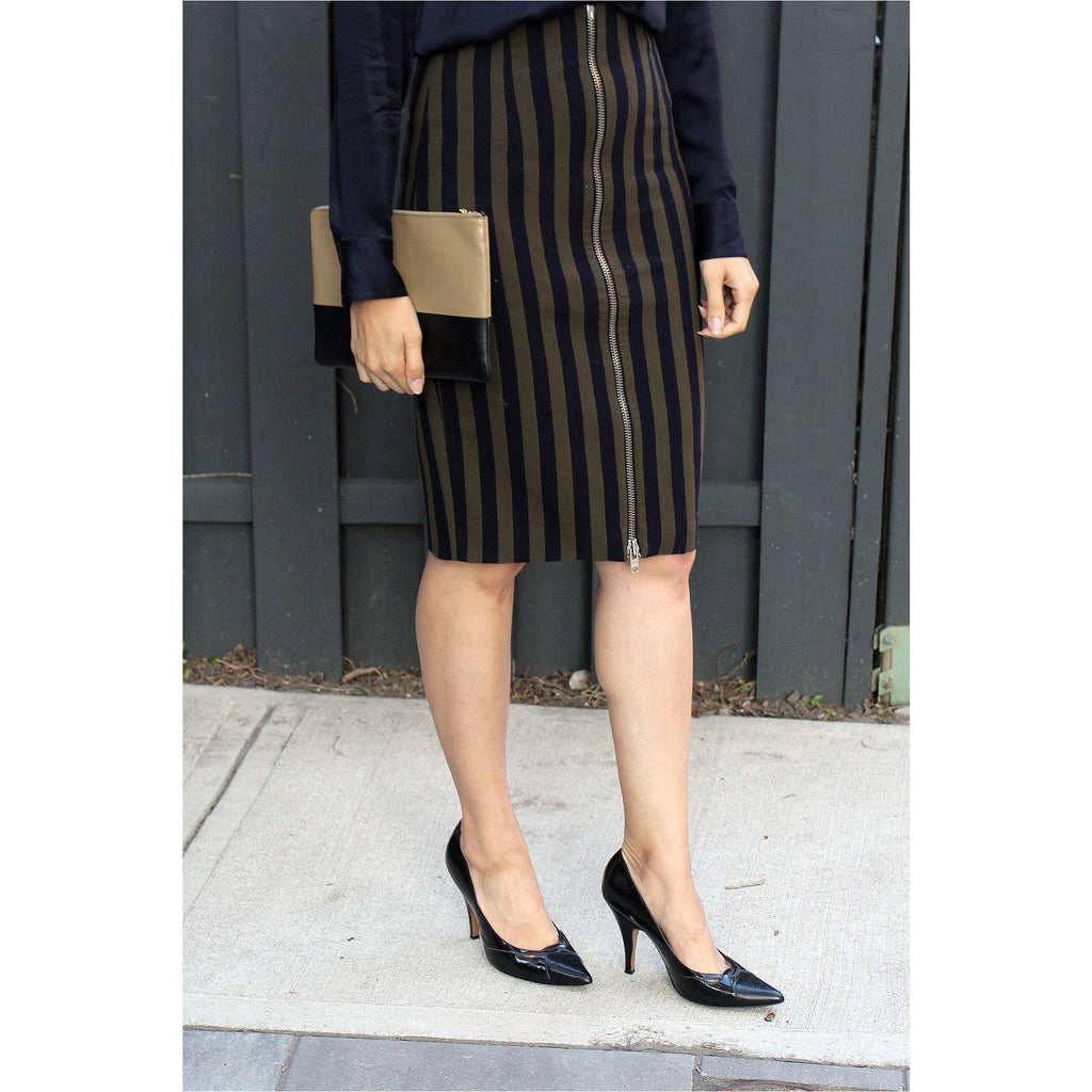 ZARA | Army Green Striped Pencil Skirt - Fresh Fashion Library
