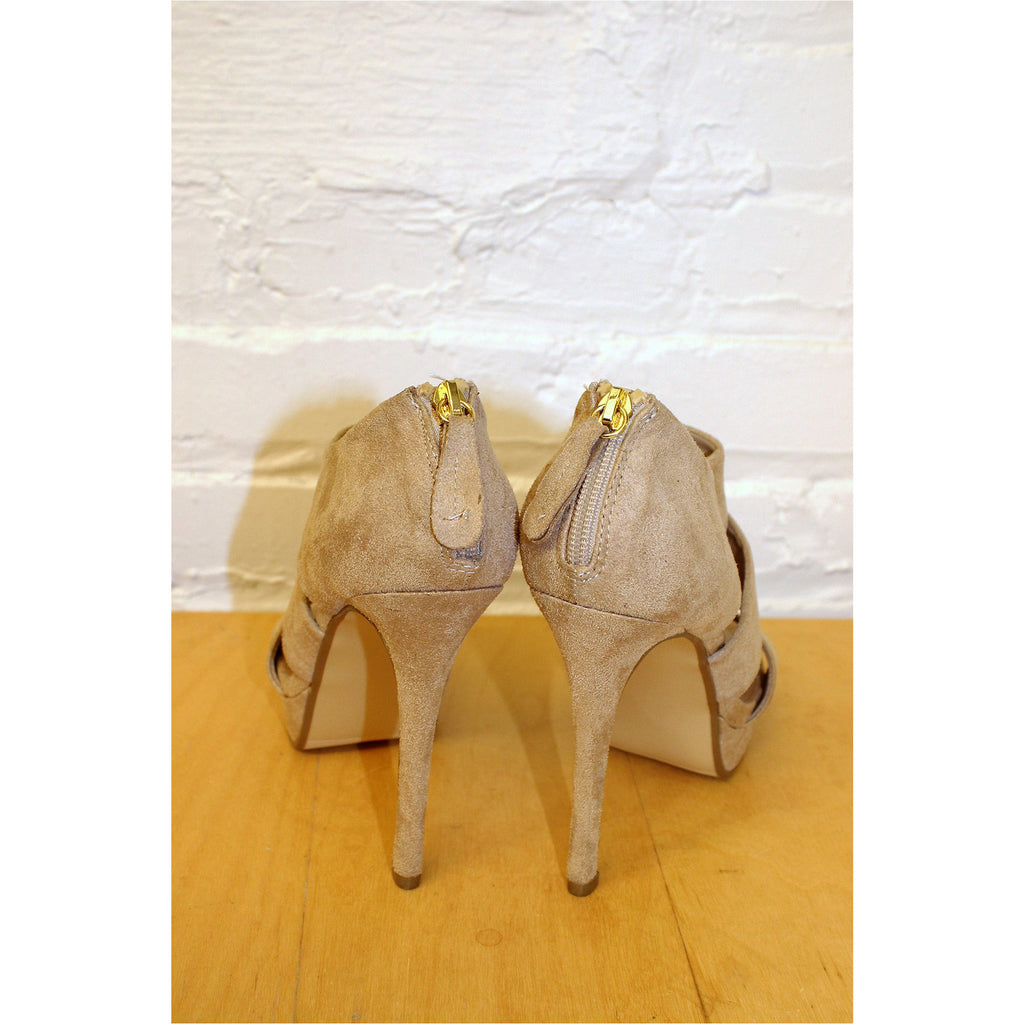 CLUB COUTURE | Beige Faux Suede Heels - Fresh Fashion Library