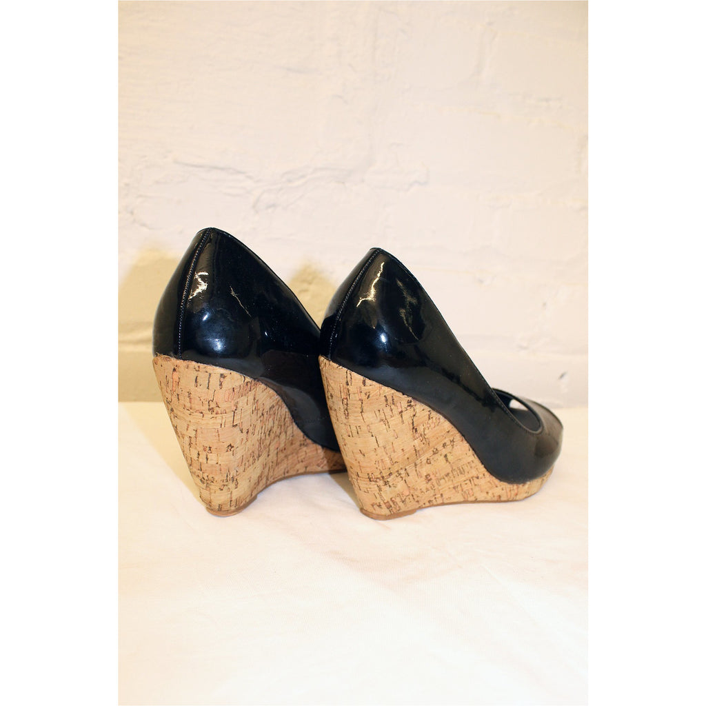 SPOT ON | Black Cork Wedges - Fresh Fashion Library