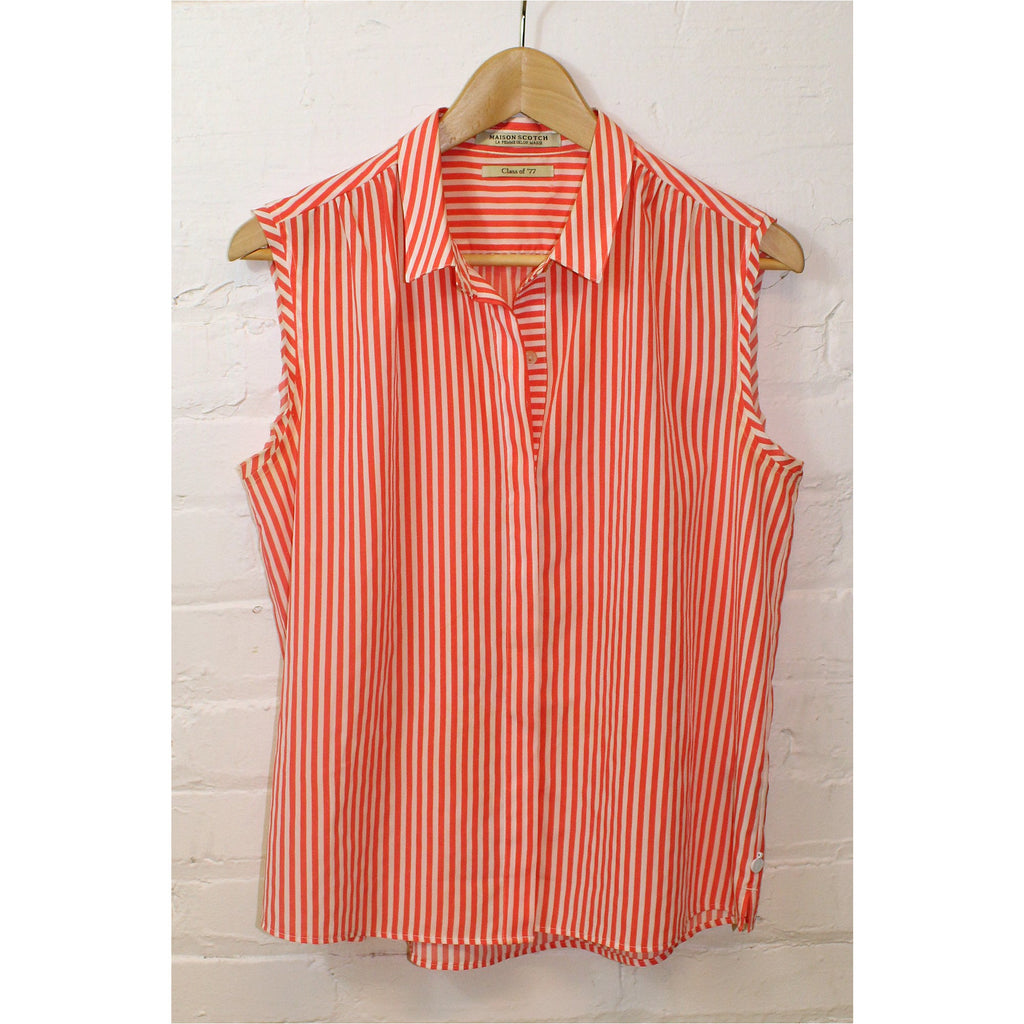 MAISON SCOTCH | Orange and White Striped Sleeveless Shirt - Fresh Fashion Library