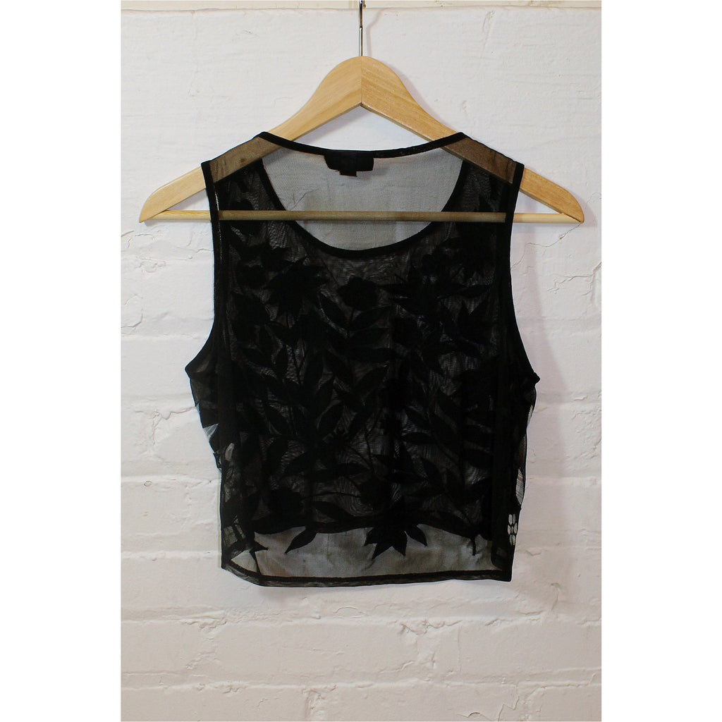 TOPSHOP | Black Mesh Embroidered Top