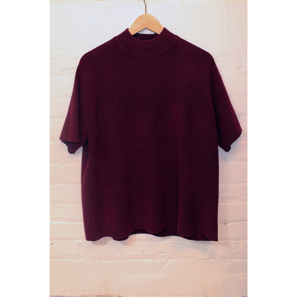 JESSICA PLUS |  Burgundy Mockneck Knit Top - Fresh Fashion Library