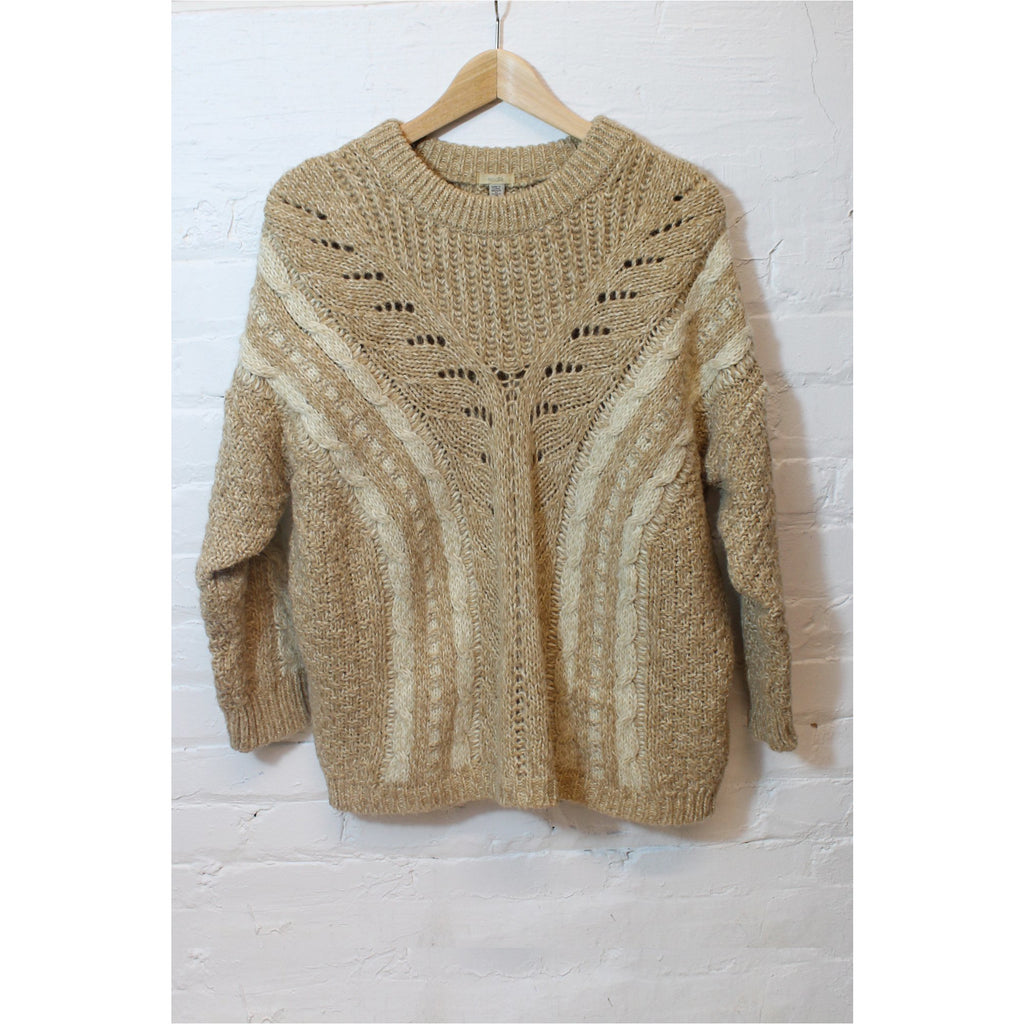 ECOTÉ | Beige Chunky Cable Knit Sweater - Fresh Fashion Library