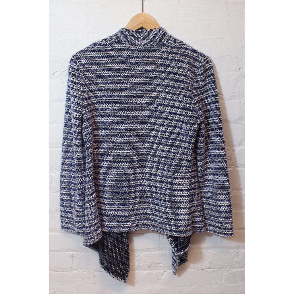 CHAUS | Blue Striped Draped Front Cardigan - Fresh Fashion Library