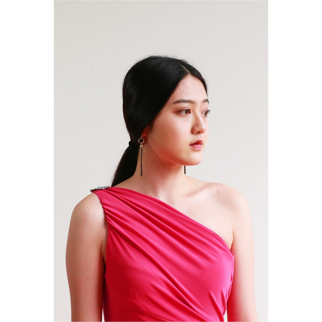 Lauren | One Shoulder Brooch Gown - Fresh Fashion Library