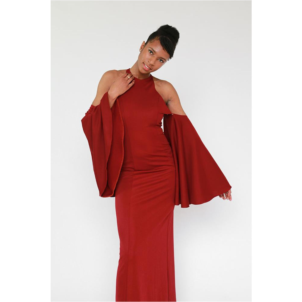 Luxe Collection | High Neck Bell Sleeve A-Line Gown