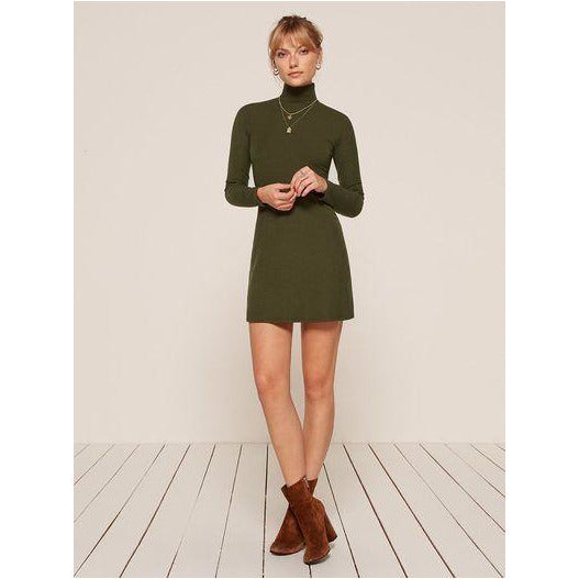 REFORMATION | Army Green Roberts Dress - Fresh Fashion Library
