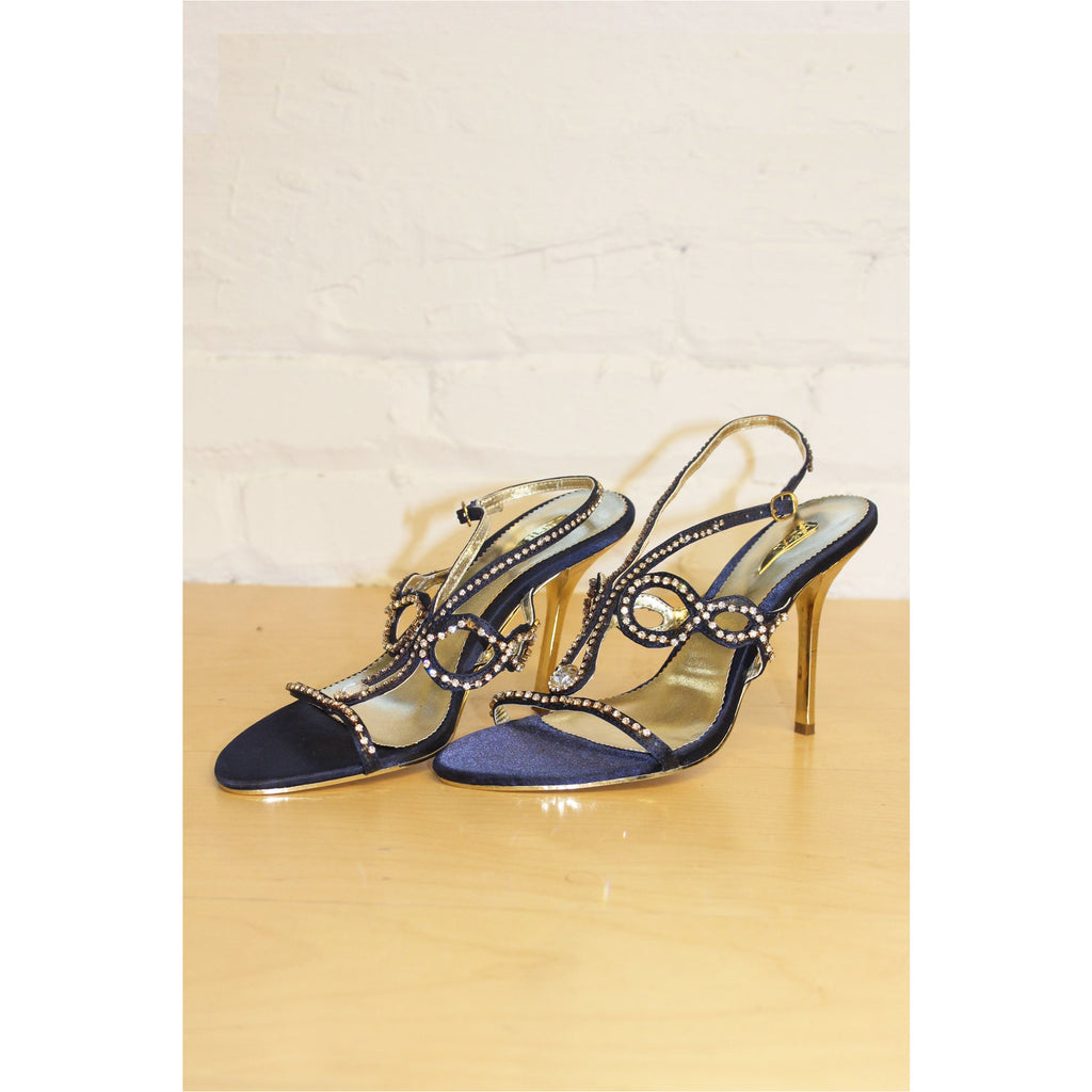 FASHION LIBRARY | Navy Blue Embellished Crystal Sandals - Fresh Fashion Library