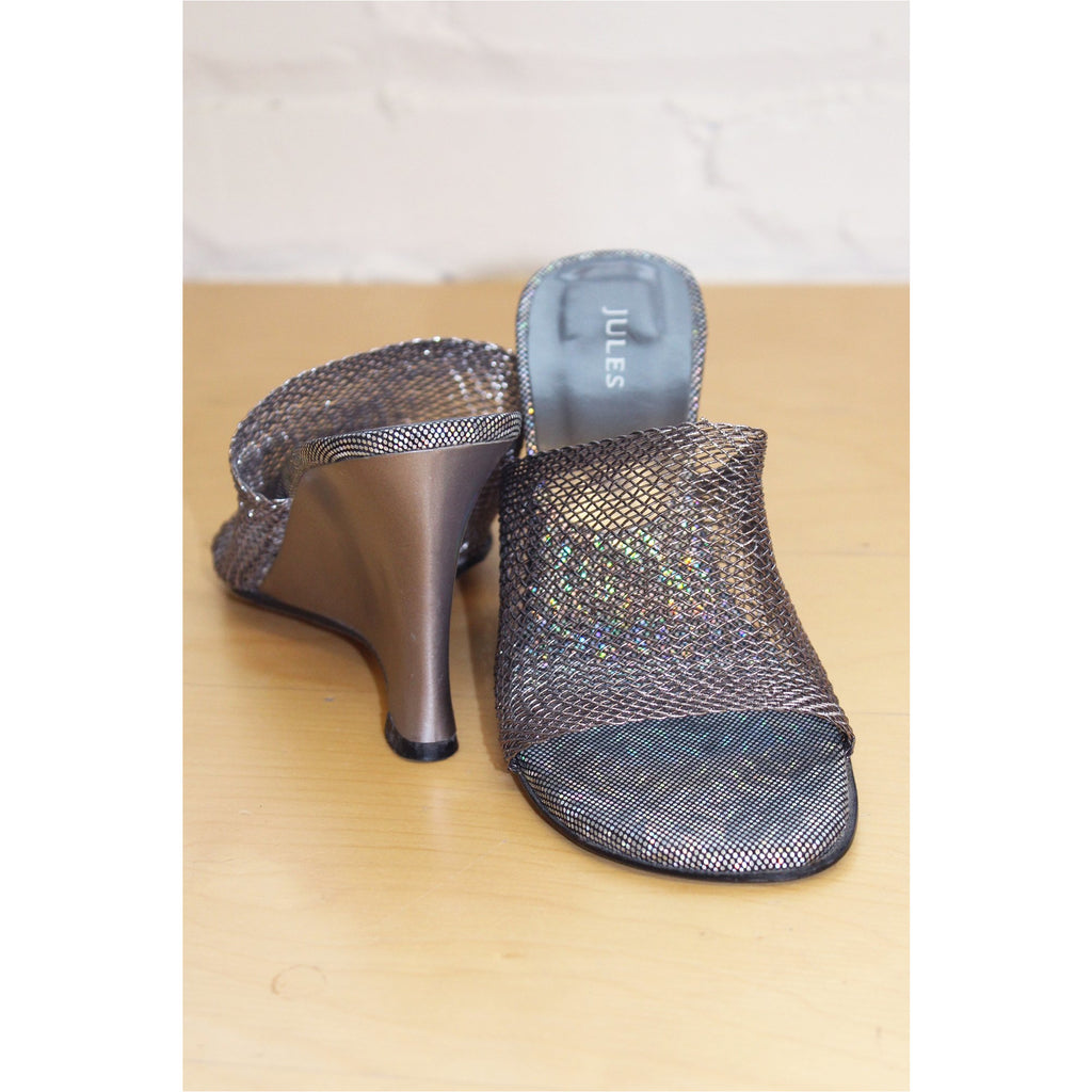 JULES | Silver Iridescent Mesh Wedge Sandals - Fresh Fashion Library