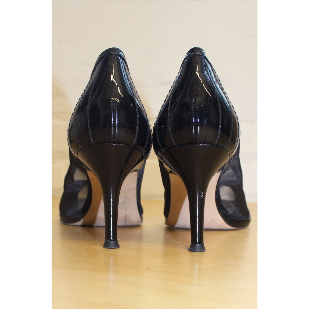 STUART WEITZMAN | Black Mesh Open Toe Pumps - Fresh Fashion Library