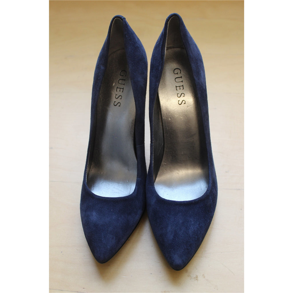 GUESS | Navy Blue Suede Pumps - Fresh Fashion Library