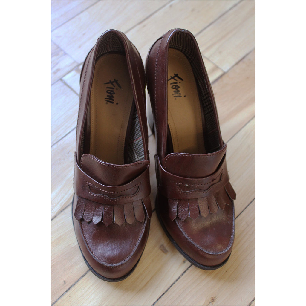 FIORI | Brown Faux Leather Heel Loafers - Fresh Fashion Library