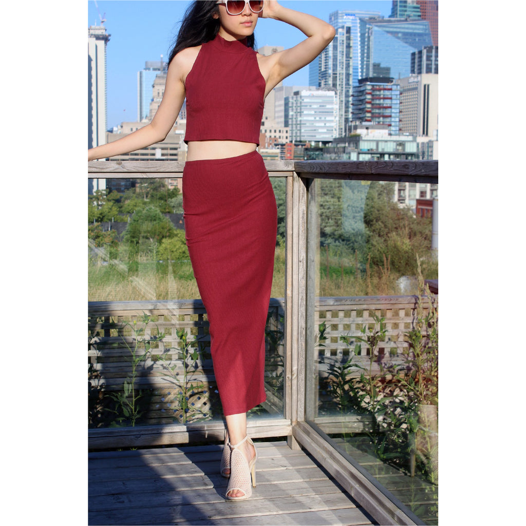 REFORMATION | Burgundy Knox Two Piece