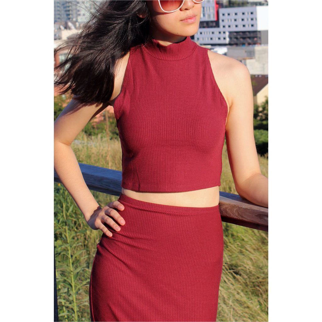 REFORMATION | Burgundy Knox Two Piece - Fresh Fashion Library