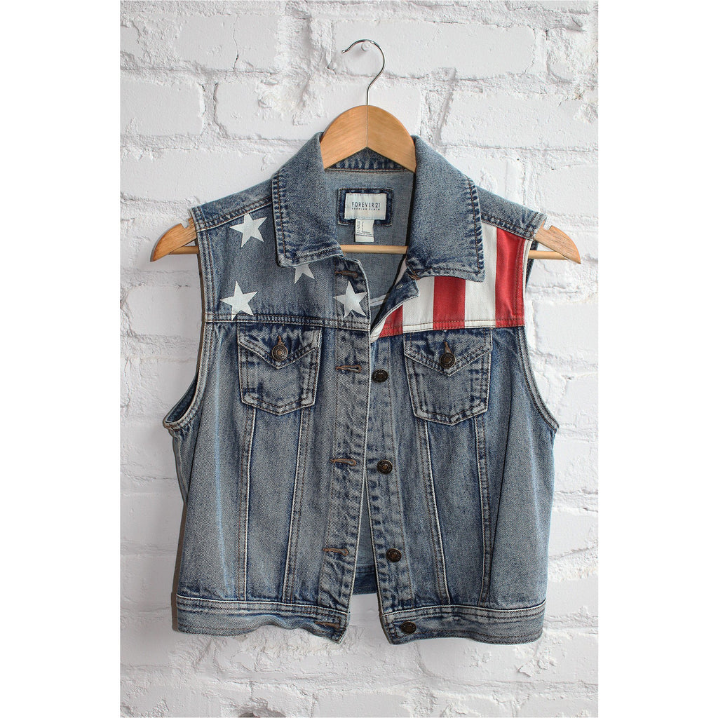 FOREVER 21 |  U.S. Flag Denim Vest - Fresh Fashion Library