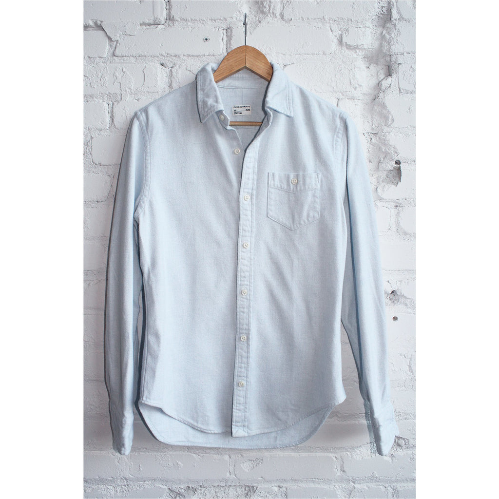 CLUB MONACO |  Light Blue Flannel Shirt - Fresh Fashion Library