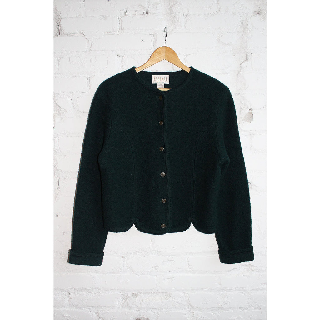 BRAEMAR | Dark Green Wool Cardigan - Fresh Fashion Library