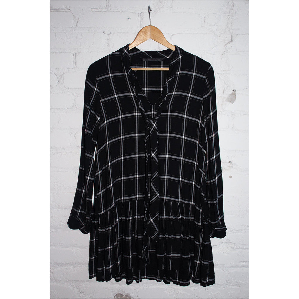 ZARA | Black Plaid Dress - Fresh Fashion Library
