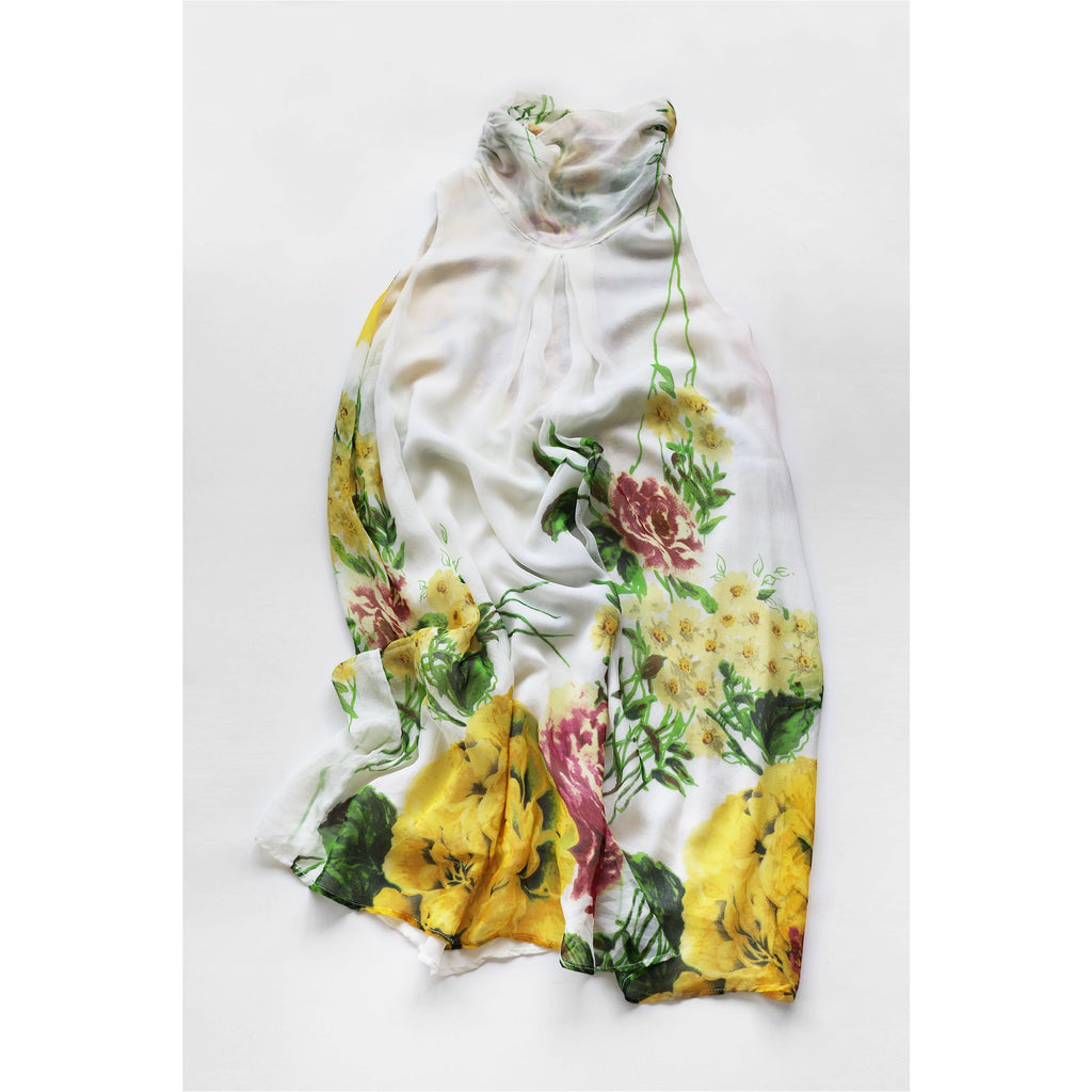 FASHION LIBRARY | Floral Turtleneck Silk Dress