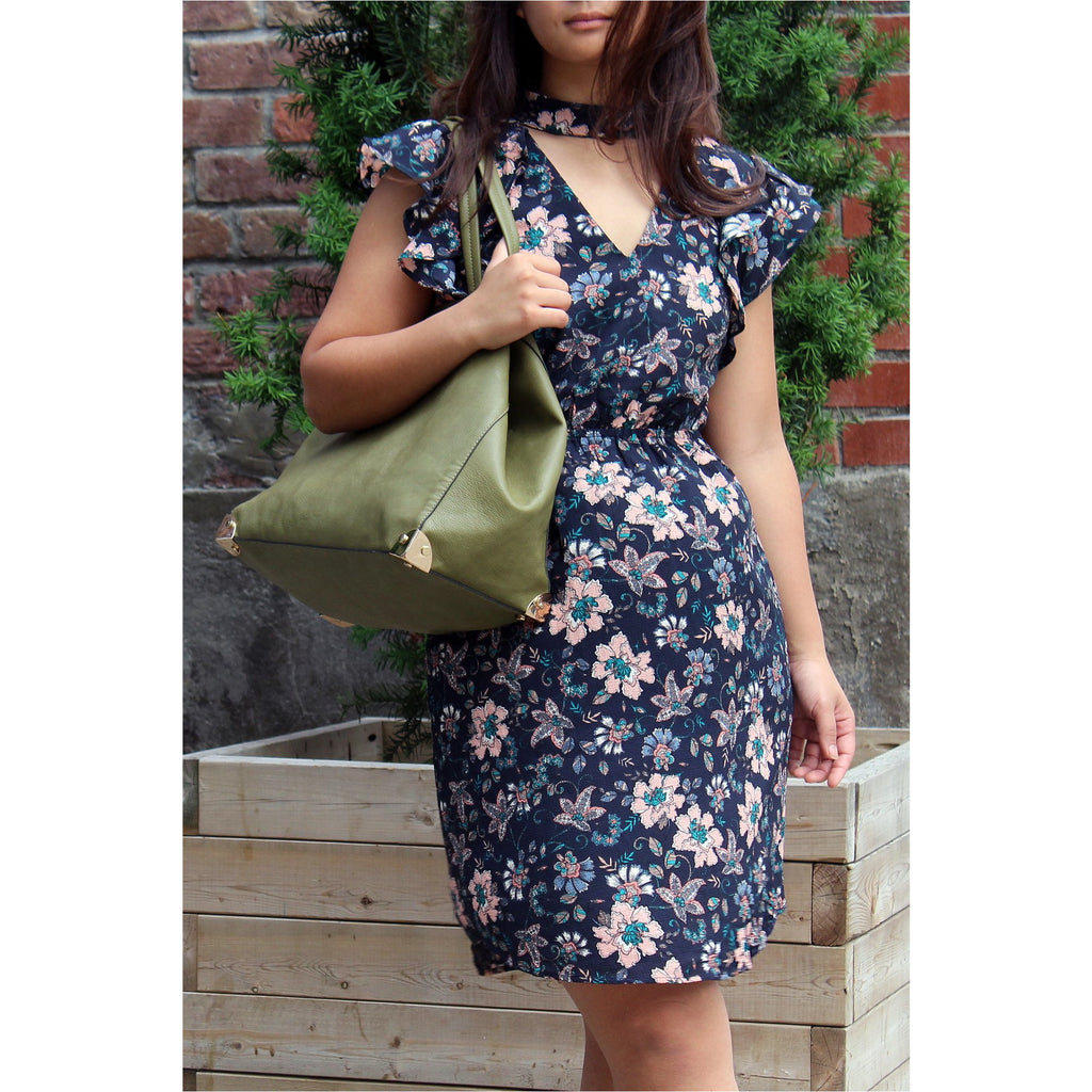 MONTEAU | Floral Navy Ruffle Dress