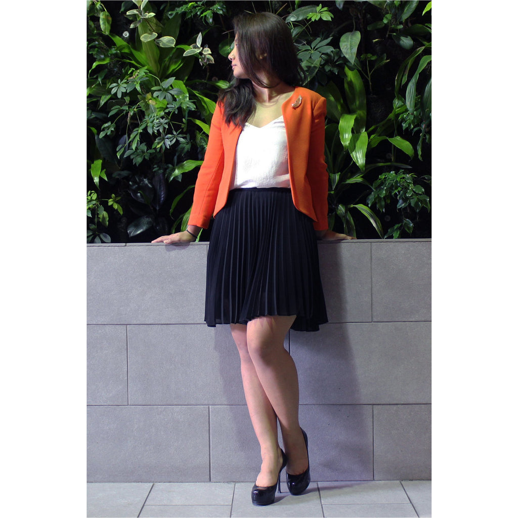 WILFRED | Orange Collarless Blazer - Fresh Fashion Library