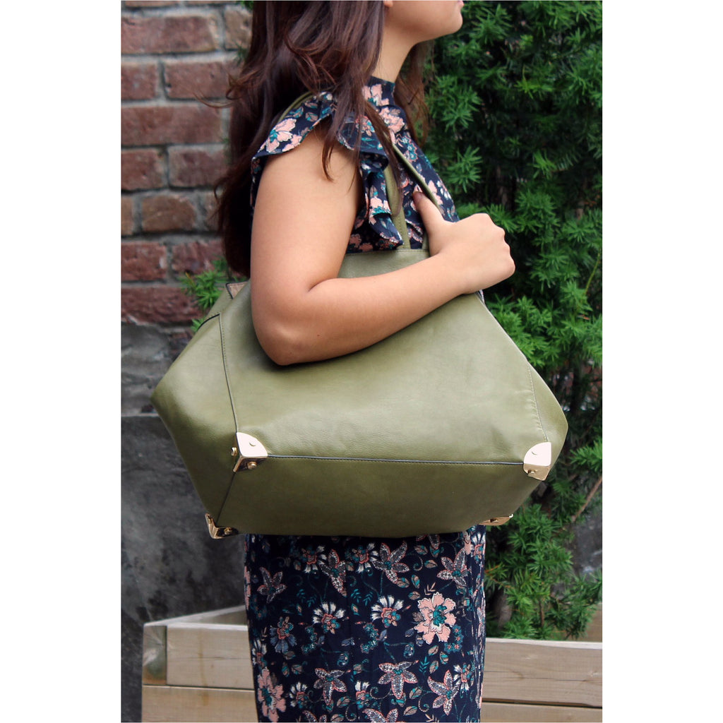 FASHION LIBRARY | Green Leather Shopper Bag - Fresh Fashion Library
