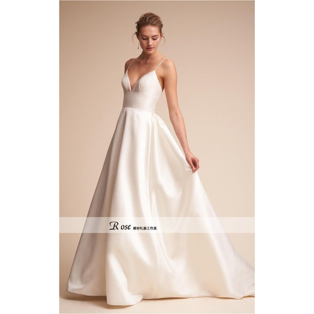 Fresh Boutique | V-neck Plunge Neck Silk Satin Wedding Gown - Fresh Fashion Library
