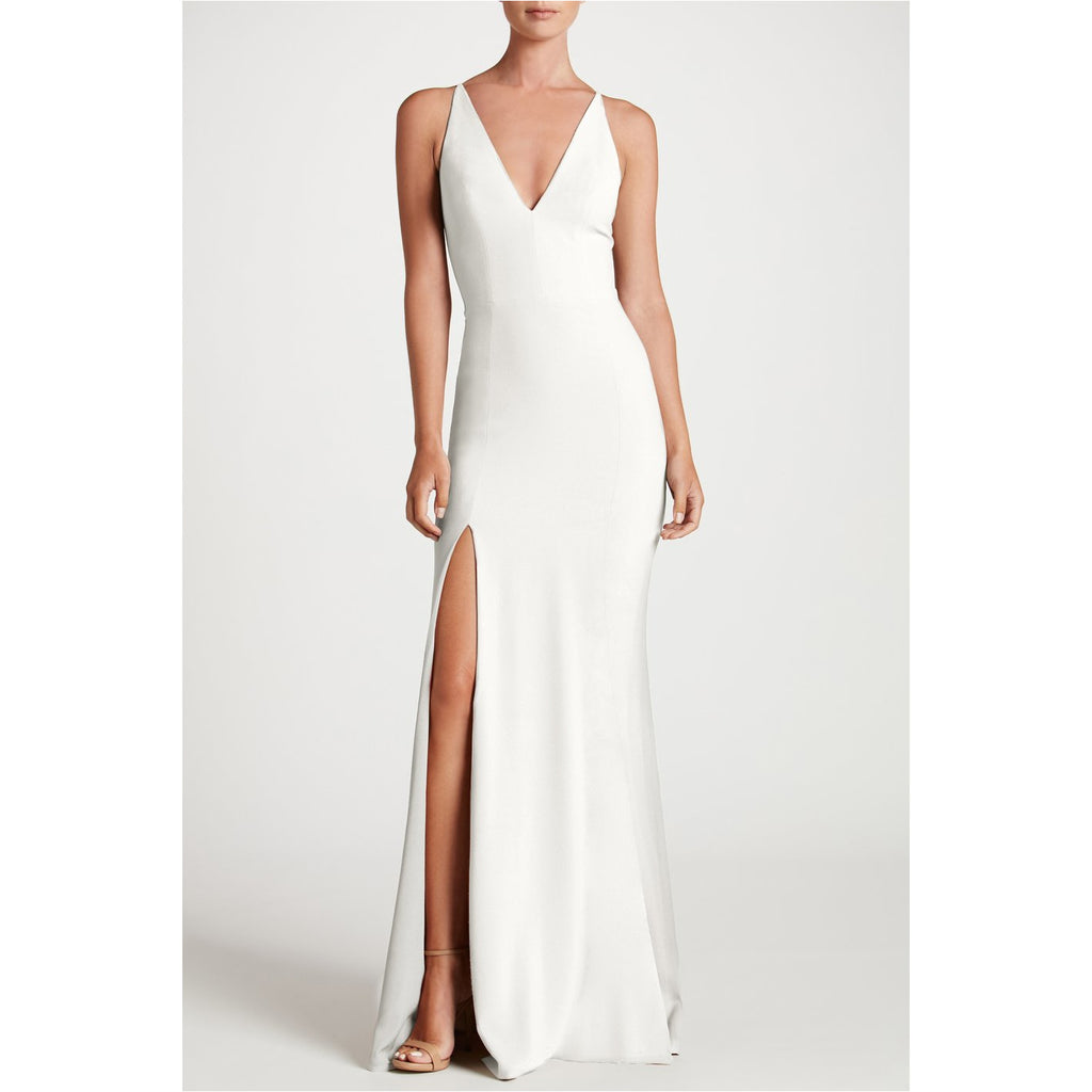 DRESS THE POPULATION | Off-White Iris Crepe Side Slit Gown - Fresh Fashion Library