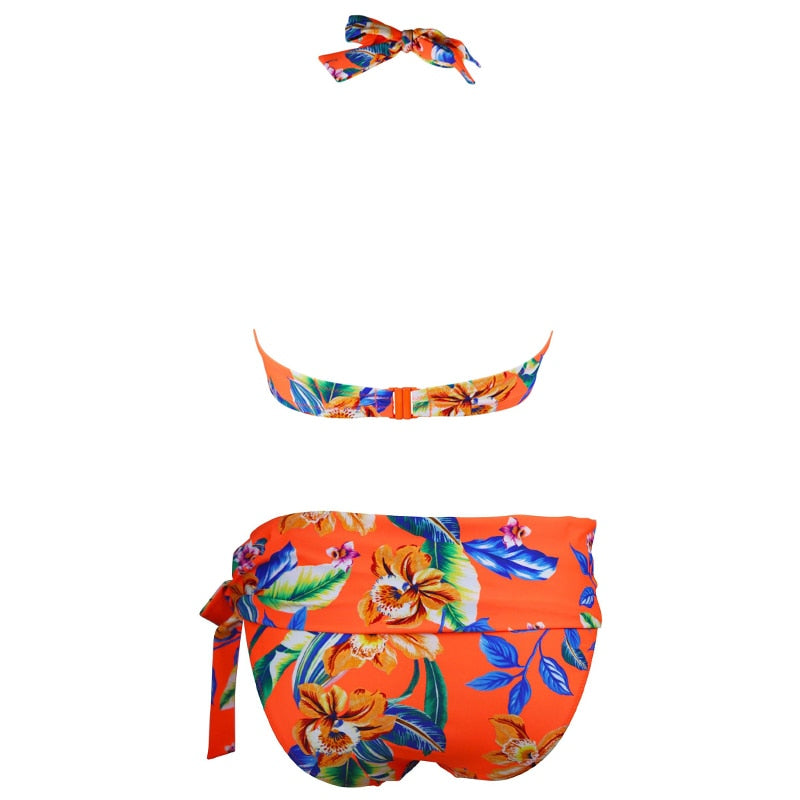 Floral high waist two piece swimsuit bikini halter top with push up - Fresh Fashion Library