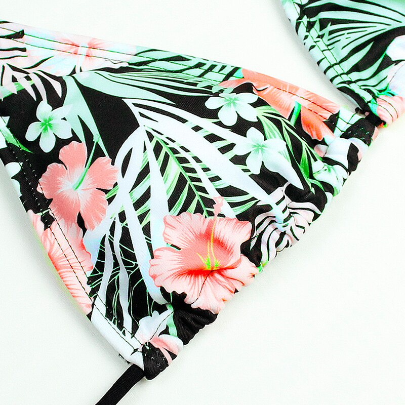 Floral print classic shape two piece swimsuit bikini with push up effect - Fresh Fashion Library
