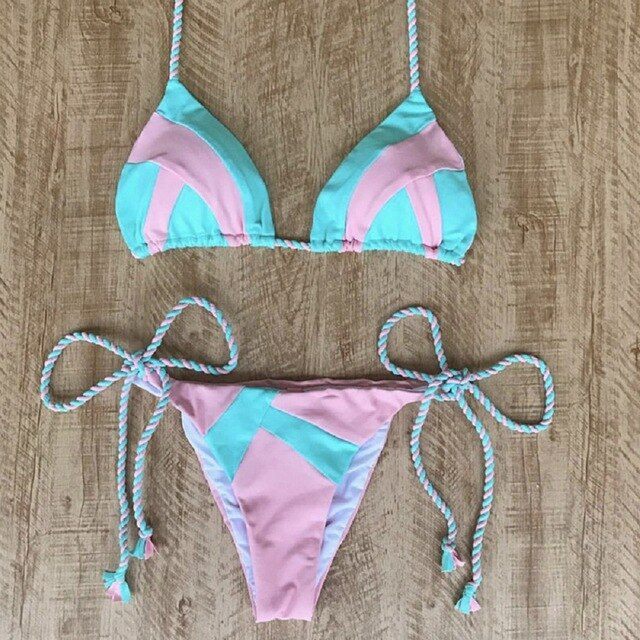 Sexy halter top bikini set with ruffles floral and patterns - Fresh Fashion Library