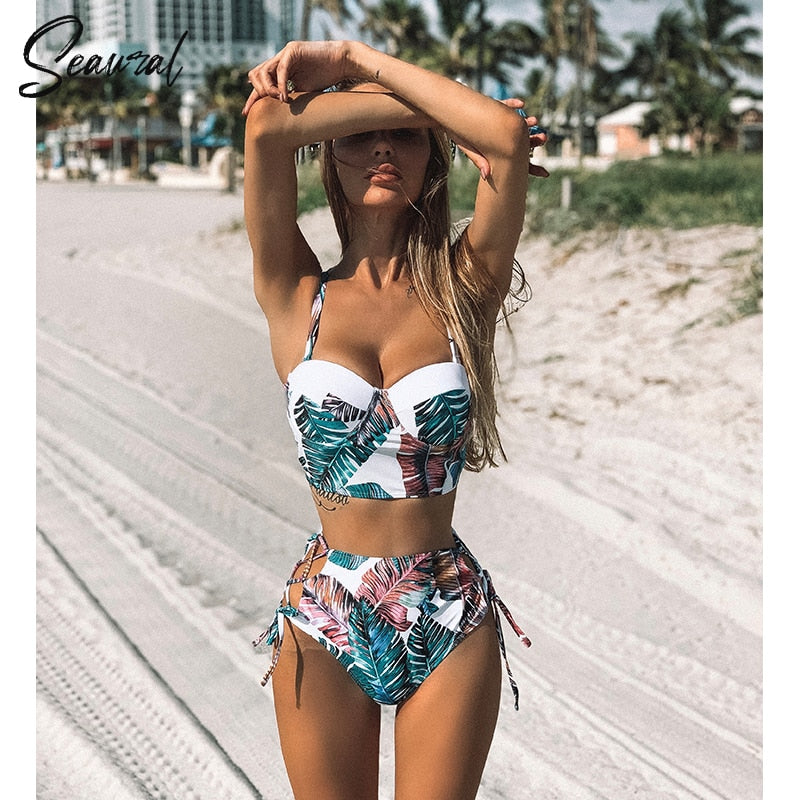 Sexy high waist bikini two piece swimsuit push up side cut-out straps - Fresh Fashion Library